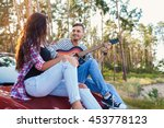 affectionate young couple on a... | Shutterstock . vector #453778123