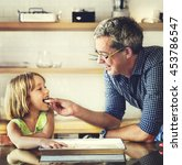 father daughter helping cooking ... | Shutterstock . vector #453786547