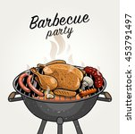 sketched barbecue meat food on... | Shutterstock .eps vector #453791497