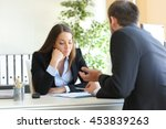 bad salesman trying to convince ... | Shutterstock . vector #453839263