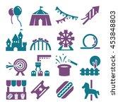 amusement park icon set   Shutterstock .eps vector #453848803