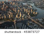 Stock photo aerial photography of false creek cambie bridge and granville bridge in downtown vancouver bc 453873727