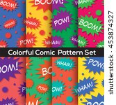 colorful set comic book speech... | Shutterstock .eps vector #453874327