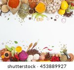 group of indian spices and... | Shutterstock . vector #453889927