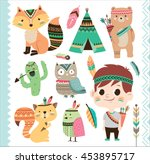 set of cute tribal animals and... | Shutterstock .eps vector #453895717