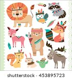 Stock vector set of cute tribal animals in cartoon style 453895723