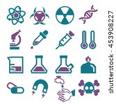 lab  chemistry  science icon set | Shutterstock .eps vector #453908227