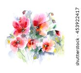 red flowers. poppy. watercolor... | Shutterstock . vector #453922417