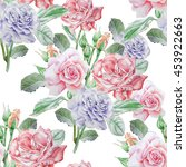 seamless pattern with roses.... | Shutterstock . vector #453922663