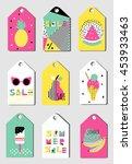 summer sale tags set. sticker... | Shutterstock .eps vector #453933463