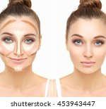 contouring.make up woman face....   Shutterstock . vector #453943447