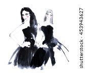 fashion portrait drawing sketch.... | Shutterstock . vector #453943627