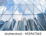 reflection of urban skyline on... | Shutterstock . vector #453967363
