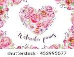 watercolor vintage floral piony ... | Shutterstock . vector #453995077