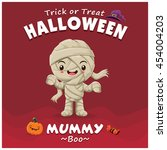 vintage halloween poster design ... | Shutterstock .eps vector #454004203