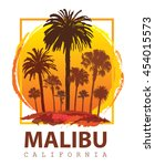 travel poster malibu california.... | Shutterstock . vector #454015573