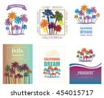 exotic travel background with... | Shutterstock . vector #454015717