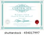certificate or diploma template | Shutterstock .eps vector #454017997