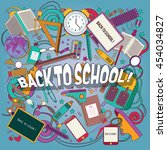 back to school. banner set ... | Shutterstock .eps vector #454034827