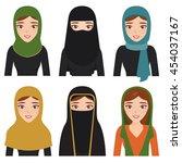 set of muslim character.arab... | Shutterstock .eps vector #454037167