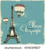 vintage card with eiffel tower... | Shutterstock .eps vector #454039807