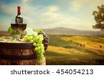 red wine with barrel on... | Shutterstock . vector #454054213