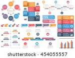 Set of infographic elements - circle diagram, timelines, arrows, diagram with percents, bar graph, objects with numbers (steps or options) and text, vector eps10 illustration | Shutterstock vector #454055557