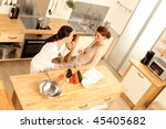 two women in the kitchen from a ... | Shutterstock . vector #45405682