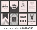 set of brochures in hipster...   Shutterstock .eps vector #454076833