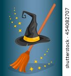 witch hat or wizard hat and... | Shutterstock .eps vector #454082707