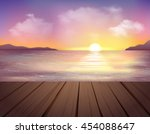 landscape with sea mountains... | Shutterstock .eps vector #454088647
