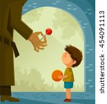 suspicious stranger offers... | Shutterstock .eps vector #454091113