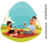 happy family countryside picnic ... | Shutterstock .eps vector #454092643