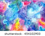 watercolor multicolored bright... | Shutterstock . vector #454102903