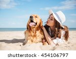cute young woman having fun and ... | Shutterstock . vector #454106797