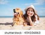 portrait of cheerful beautiful... | Shutterstock . vector #454106863