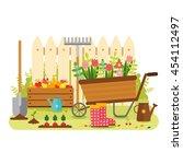 vector flat design  gardening.... | Shutterstock .eps vector #454112497