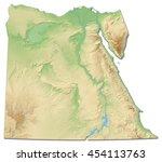 relief map of egypt   3d... | Shutterstock . vector #454113763