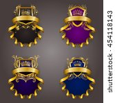 set of golden royal shields for ... | Shutterstock .eps vector #454118143
