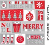 christmas ornament red and... | Shutterstock .eps vector #454119967