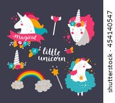 set of baby unicorn and rainbow.... | Shutterstock .eps vector #454140547