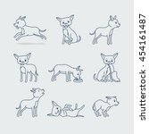 cute dog doodle line icons.... | Shutterstock .eps vector #454161487
