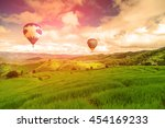 balloon flying on rice field ... | Shutterstock . vector #454169233
