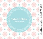wedding card template with... | Shutterstock .eps vector #454171507