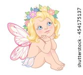 sitting little fairy. cute... | Shutterstock .eps vector #454175137