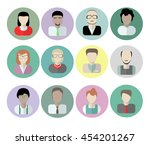 office workers avatars on white ... | Shutterstock . vector #454201267
