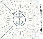 retro nautical lineart label... | Shutterstock .eps vector #454201717