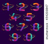 numbers set logos with atoms... | Shutterstock .eps vector #454203847