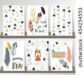 light green pink gold card... | Shutterstock .eps vector #454254553