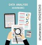 analyzes data. analysis concept ... | Shutterstock .eps vector #454255243